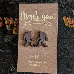 Bigfoot Sasquatch wooden laser cut earring…